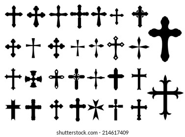 Religion Cross christianity symbols set isolated on white background for Religious, Church and Christianity design