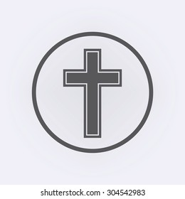 Religion cross icon in circle