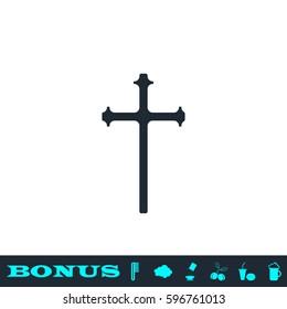 Religion cross icon flat. Black pictogram on white background. Vector illustration symbol and bonus button