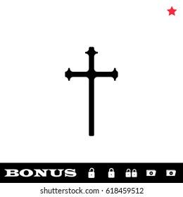 Religion cross icon flat. Black pictogram on white background. Vector illustration symbol and bonus button open and closed lock, folder, star