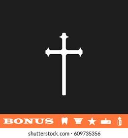 Religion cross icon flat. White pictogram on black background. Vector illustration symbol and bonus button tooth, vase, star, mirror, bottle