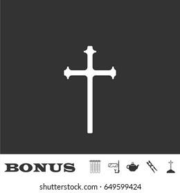 Religion cross icon flat. White pictogram on black background. Vector illustration symbol and bonus icons