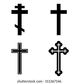 Religion cross icon set