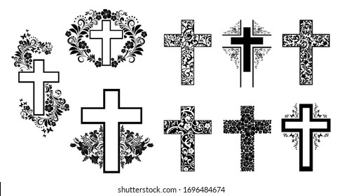 Religion cross icon set isolated on white background.  Big Collection of Christian Symbol design. Decorated crosses signs or ornamented crosses symbols. Vector illustration