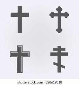 Religion cross icon set . Vector illustration