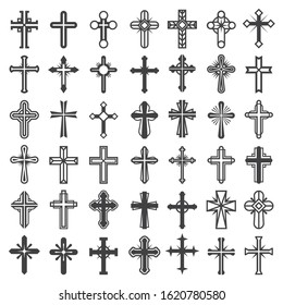 Religion cross symbols. Christians catholicism icons tribal vector collection peace jesus pictures