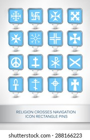 Religion crosses navigation icon rectangle pins, map pointer for maps, navigation application or website.