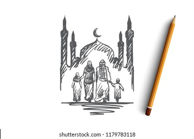 Religion, family, muslim, arabic, islam, mosque concept. Hand drawn traditional muslim family with kids concept sketch. Isolated vector illustration.