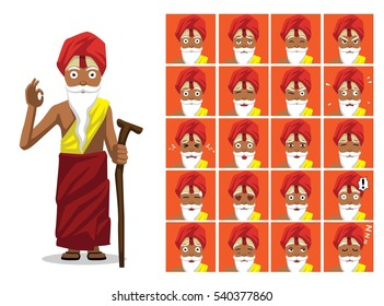 Religion Hinduism Sadhu Cartoon Emotion Faces Vector Illustration