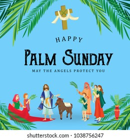 religion holiday palm sunday before easter, celebration of the entrance of Jesus into Jerusalem, happy people with palmtree leaves vector illustration, man Rides Donkey, family greetings Christ