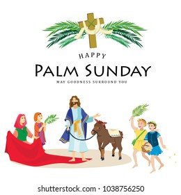 religion holiday palm sunday before easter, celebration of the entrance of Jesus into Jerusalem, happy people with palmtree leaves vector illustration, man Rides Donkey, childrens greetings Christ