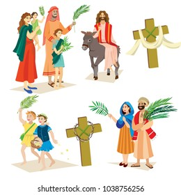 religion holiday palm sunday before easter, celebration of the entrance of Jesus into Jerusalem, happy people with palmtree leaves vector illustration,man Rides Donkey, kids and woman greetings Christ