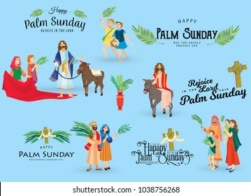 religion holiday palm sunday before easter, celebration of the entrance of Jesus into Jerusalem, happy people with palmtree leaves vector illustration, man Rides Donkey, kids woman greetings Christ