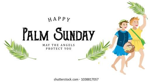 religion holiday palm sunday before easter, celebration of the entrance of Jesus into Jerusalem, happy kids with palmtree leaves vector illustration, childrens greetings Christ