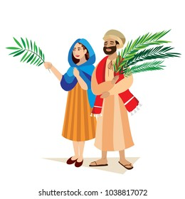 religion holiday palm sunday before easter, celebration of the entrance of Jesus into Jerusalem, happy people with palmtree leaves vector illustration, man and woman greetings Christ