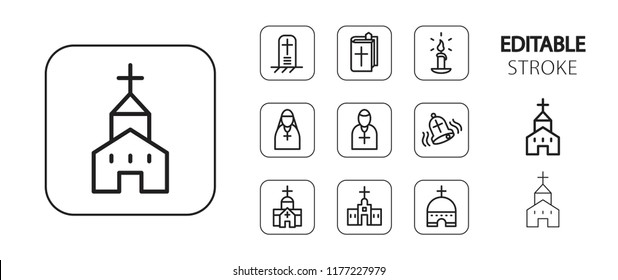 Religion icon set. Christian and catholic religious symbols. Simple outline web application icons. Editable stroke. Vector illustration.