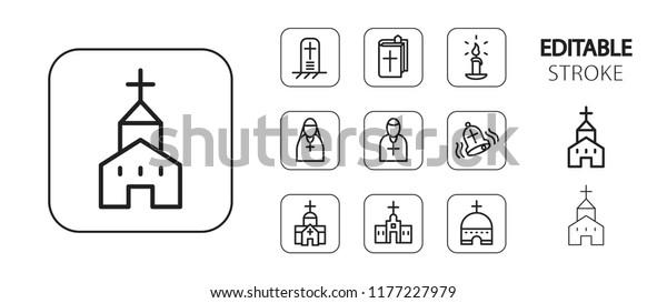 Religion icon set. Christian and catholic religious symbols. Simple outline web application icons. Editable stroke. Vector illustration.