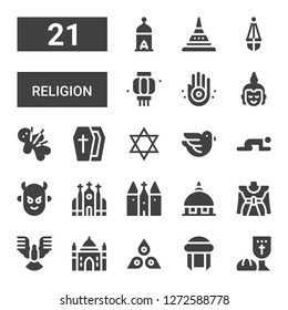 religion icon set. Collection of 21 filled religion icons included Last supper, Turban, Chakra, Agra, Dove, Traditional, Vatican, Church, Devil, Prayer, Judaism, Coffin, Voodoo