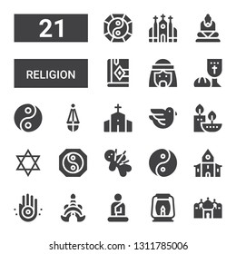 religion icon set. Collection of 21 filled religion icons included Badshahi mosque, Lantern, Buddha, Thailand, Jainism, Church, Yin yang, Voodoo, Judaism, Candles, Dove, Chapel