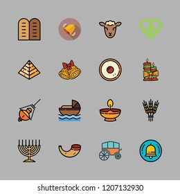 religion icon set. vector set about candle, chariot, hebrew and peace icons set.