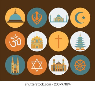 Religion icon set. Vector illustration