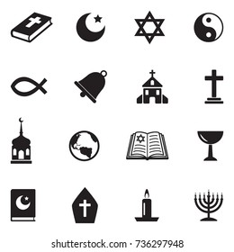 Religion Icons. Black Flat Design. Vector Illustration.