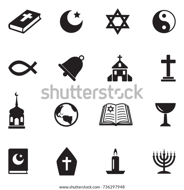 Religion Icons. Black Flat Design. Vector Illustration.