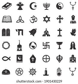 Religion Icons. Black Scribble Design. Vector Illustration.