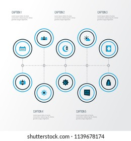 Religion icons colored set with mussulmans, crescent, asr and other religious elements. Isolated vector illustration religion icons.