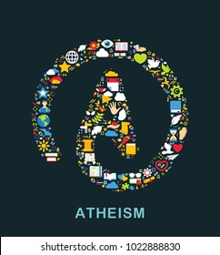 Religion icons are grouped in Atheism