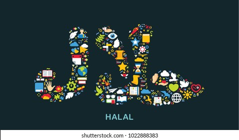 Religion icons are grouped in Halal symbol