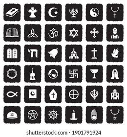 Religion Icons. Grunge Black Flat Design. Vector Illustration.