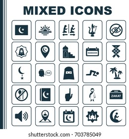 Religion Icons Set. Collection Of Bullhorn, Pointer Finger, Arabian And Other Elements. Also Includes Symbols Such As No, Jug, Tree.