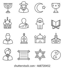 Religion icons set.  collection. Thin line design