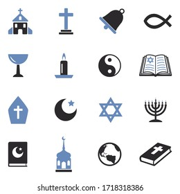 Religion Icons. Two Tone Flat Design. Vector Illustration.