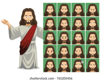 Religion Jesus Cartoon Emotion Faces Vector Illustration
