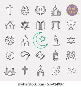 religion line icon set