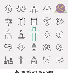 religion line icon set