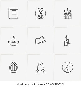 Religion line icon set with christian grave , yin yang  and church
