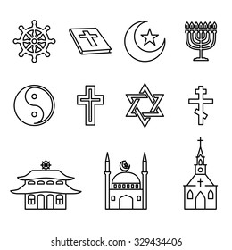 Religion line icons vector set. Architectural church, yin-yang and Buddhism, cross and star, bible and crescent illustration