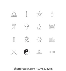 Religion linear thin icons set. Outlined simple vector icons