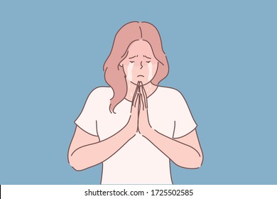 Religion, praying, begging concept. Young unhappy desperate woman or girl cartoon character begging for mercy crying and holding palms together in prayer. Asking or request or god faith illustration.