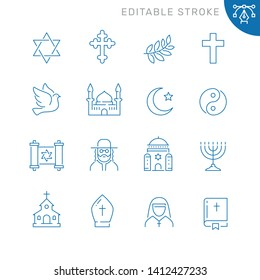 Religion related icons. Editable stroke. Thin vector icon set