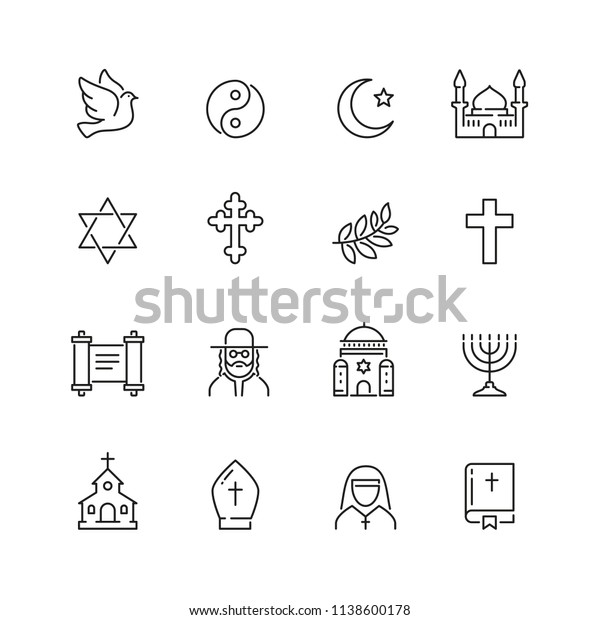Religion related icons: thin vector icon set, black and white kit
