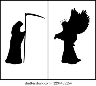 Religion silhouette angel and silhouette death