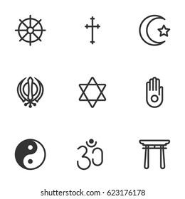 religion symbol icon set on vector