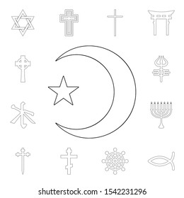 religion symbol, islam outline icon. element of religion symbol illustration. signs and symbols icon can be used for web, logo, mobile app, ui, ux