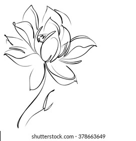 Religion, symbol, lotus,  Drawing vector graphics with floral pattern for design. Floral flower natural design. Graphic, sketch drawing.