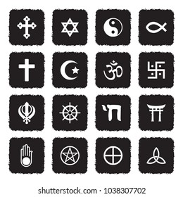 Religion Symbols Icons. Grunge Black Flat Design. Vector Illustration.