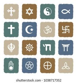 Religion Symbols Icons. Grunge Color Flat Design. Vector Illustration.